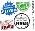 Set of excellent source of fiber grunge rubber stamps, vector illustration - stock vector