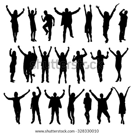 Set Of Excited People Silhouettes. Vector Image - stock vector