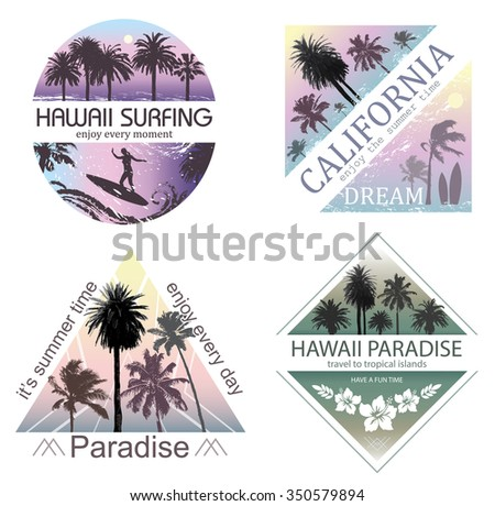 Set of Exotic Nature Landscapes with Palms for T-shirt. Summer Travel and Vacation Backgrounds .   - stock vector