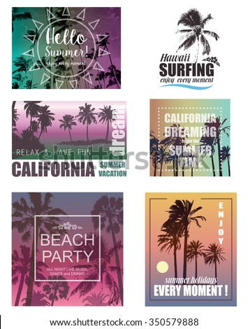 Set of Exotic Print with Palms for T-shirt. Summer Travel and Vacation Backgrounds .  Nature Landscapes. - stock vector