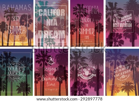 Set of Exotic Print with Palms for T-shirt. Summer Travel Backgrounds . Party and Vacation Banners. Nature Landscapes. - stock vector