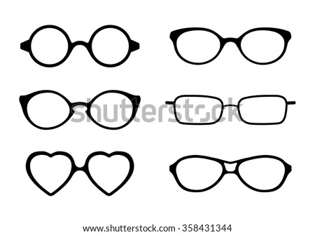 Set of eye glasses icons isolated on white background. Vector illustration. - stock vector