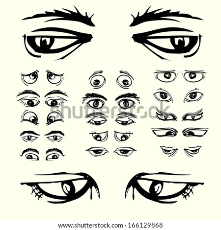 set of eyes black white cartoon hand draw - stock vector