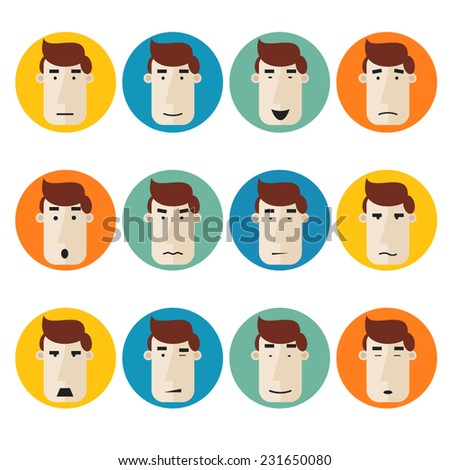 Set of faces individuals expressing emotions on colored circles. Smile, angry, passionate, aggressive, tired, sleep. - stock vector