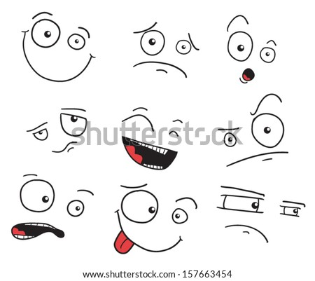 Set of faces with a crooked eye and different expressions - stock vector