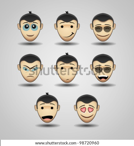 Set of faces with various emotion expressions, Smileys - stock vector