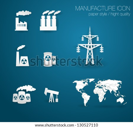 Set of factory. Icon. With World Map (easy to edit country) - stock vector