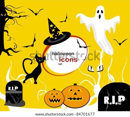 set of fairy halloween icons. vector templates.
