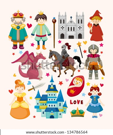 set of fairy tale element icons - stock vector