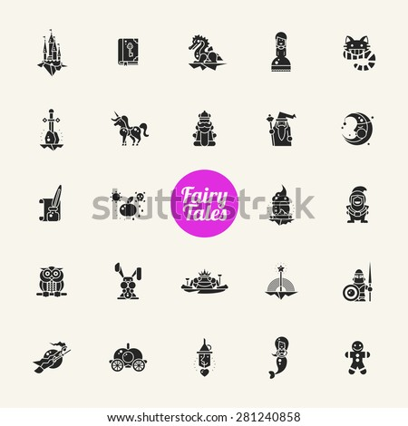 Set of fairy tales flat design magic vector icons and pictograms - stock vector