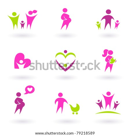 Set of family and pregnancy set icons. Vector Illustration