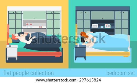 set of family couple in bedroom bed sleeping sex love romance flat