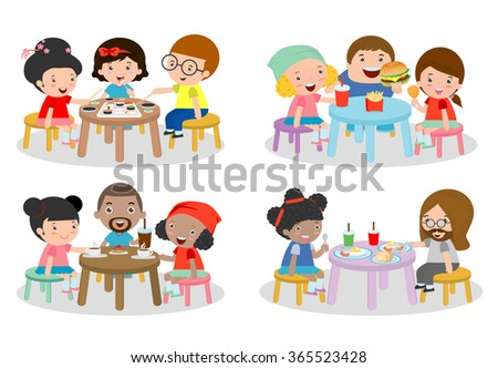 set of Family sitting at dining table, family eating dinner, kids eating Fast Food,  family eating sushi, family eating breakfast, friends sitting and chatting in cafe, vector illustration  - stock vector