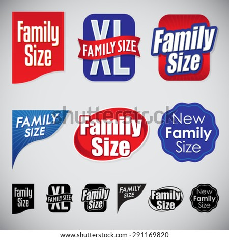 Set of Family Size Icons Seals and Corners - stock vector