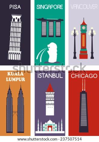 Set of Famous cities. Vector - stock vector