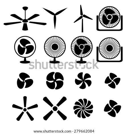 Set of fans and propellers icons , isolated vector object - stock vector
