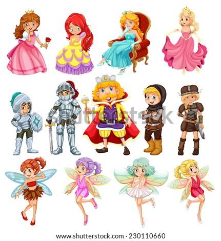 Set of fantasy knights and princesses - stock vector