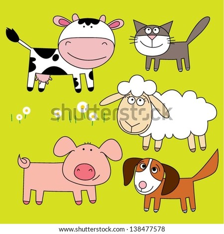 Set of farm animal.Funny cartoon and vector illustration. - stock vector