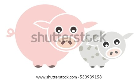 Set of Farm Animal - Pig, Vector illustration