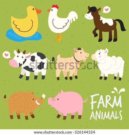 Set of Farm Animals : Vector Illustration - stock vector