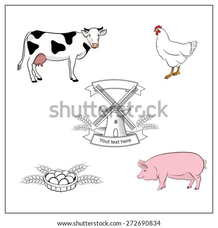 Set of farm animals with mill and eggs. Black and white vector cow. Vector hand drawn design template. Farm Logotype concept icon. Vector image of a standing cow,chicken, pig isolated. - stock vector