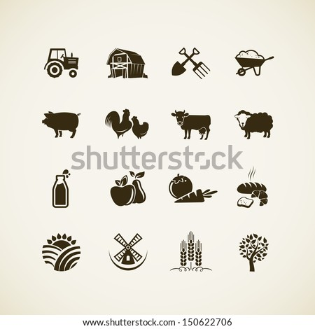 Set of farm icons - farm animals, food and drink production, organic product, machinery and tools on the farm.
