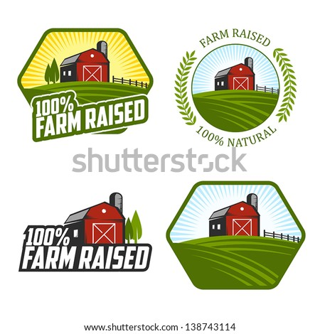 Set of farm raised labels and badges - stock vector