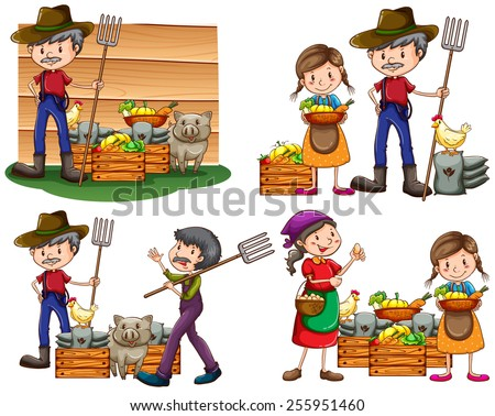 Set of farmers with their harvested goods and animals on a white background - stock vector