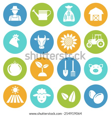 Set of farming harvesting and agriculture decorative icons set of animals plants tools  flat style icons in circles. Vector illustration. - stock vector