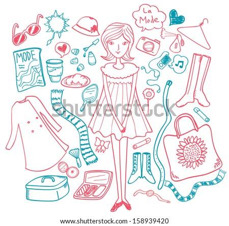 set of fashion doodle isolated on white background - stock vector
