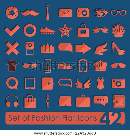 Set of fashion flat icons - stock vector