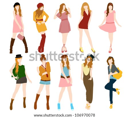 set of fashion girl vector - stock vector