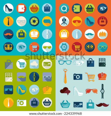 Set of fashion icons - stock vector
