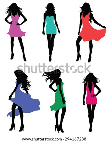 Set of fashion models. - stock vector