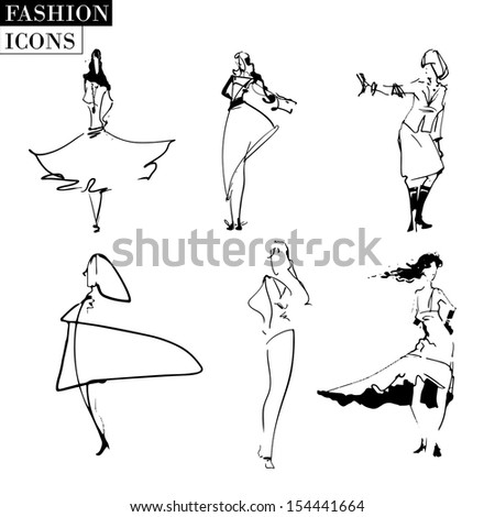Set of fashion models. Variant 3. - stock vector