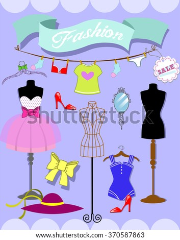 Set of fashion objects, woman accessories. Vector illustration.