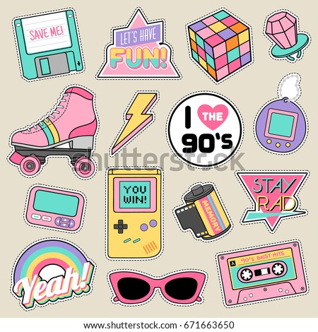 Set of fashion patches, cute pastel badges, fun icons vector in 90s retro concept