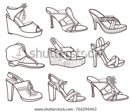 Set Of Fashion Shoes Coloring Book Vector Illustration