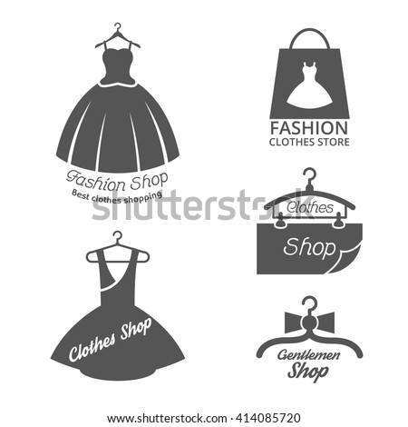 Set of fashion shop logos, labels, icon isolated on white. Vector illustration - stock vector