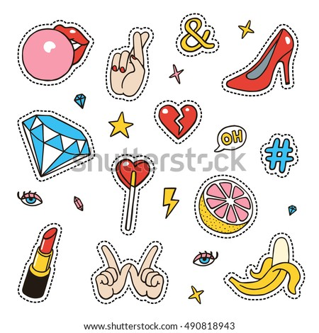 Set of fashion sketchy patches. Different trendy badges and pins. Oldschool vector pictograms in line-art style with 90's colors. Hearts, hands, fruits, hashtags and diamonds icons.