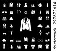 Set of Fashion white icons and silhouettes. apparel icon. clothes icon. sign and symbol. vector - stock vector