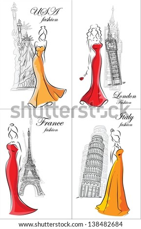 Set of fashion women in different country - stock vector