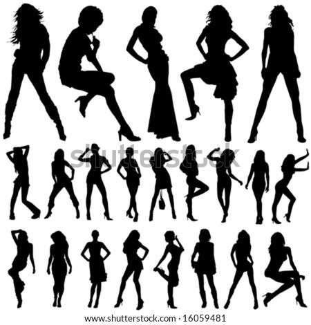 set of fashion women vector - stock vector