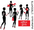 Set of fashionable business girls silhouettes on a white background  - stock photo