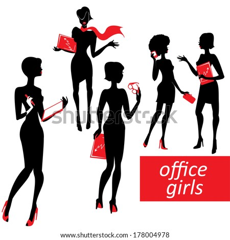 Set of fashionable business girls silhouettes on a white background  - stock vector