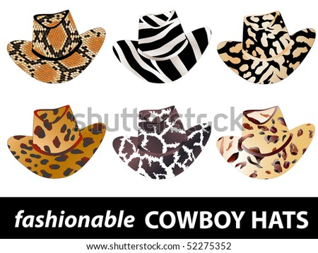set of fashionable cowboy hats in wild style - stock vector