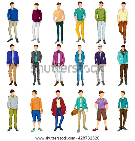Set of Fashionable urban man wearing stylish modern cloth in vector - stock vector