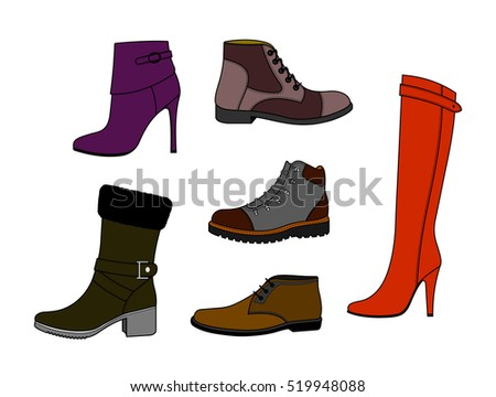 Set of fashionable winter shoes