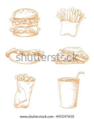 Set of fast food elements, hand drawn graphic lines and strokes icons French fries, sandwich, hamburger, Hot Dog, drink for menu the restaurant, cafe, bistro or snack bar, sepia, brown vector isolated - stock vector