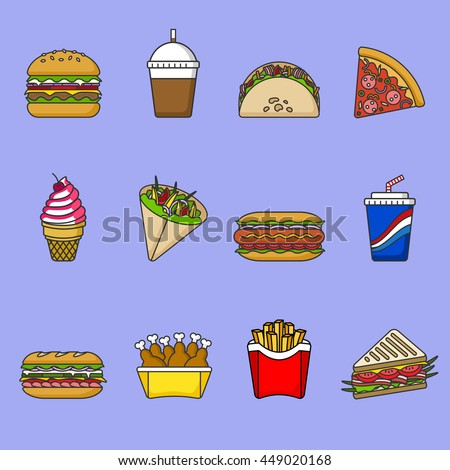 Set of fast food icons. Drinks, snacks and sweets. Colorful outlined icon collection. Vector illustration on white background. Sandwich, hamburger, pita, pizza, fries, hot dog, ice cream, coffee, soda